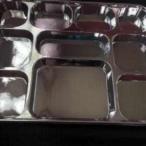 Metallic Silver 10 Compartment Plates