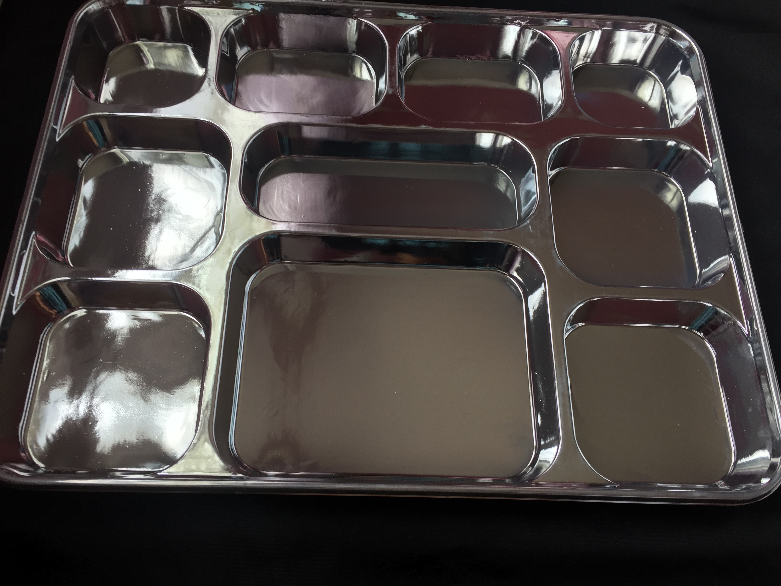 Metallic Silver 10 Compartment Plates