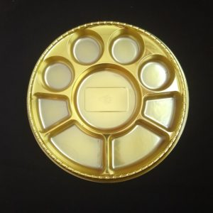 Metallic 9 Compartment Gold Plates
