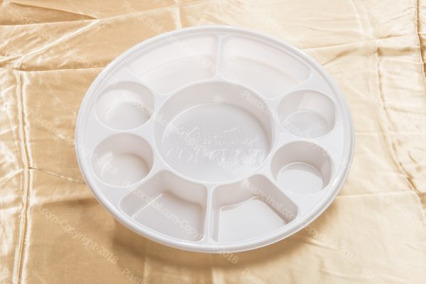 9 compartment white disposable plastic plates 1