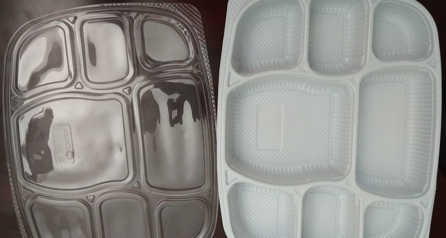 White 8 compartment plates with lid