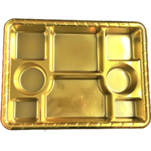 Gold 8 compartment disposable plastic thali