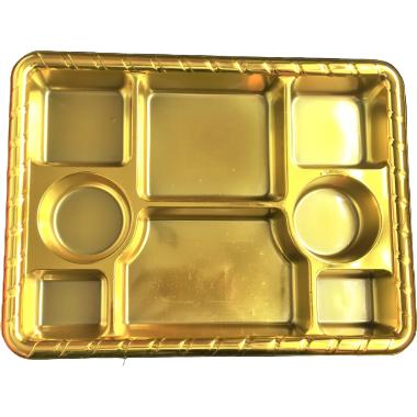 Gold 8 compartment disposable plastic thali