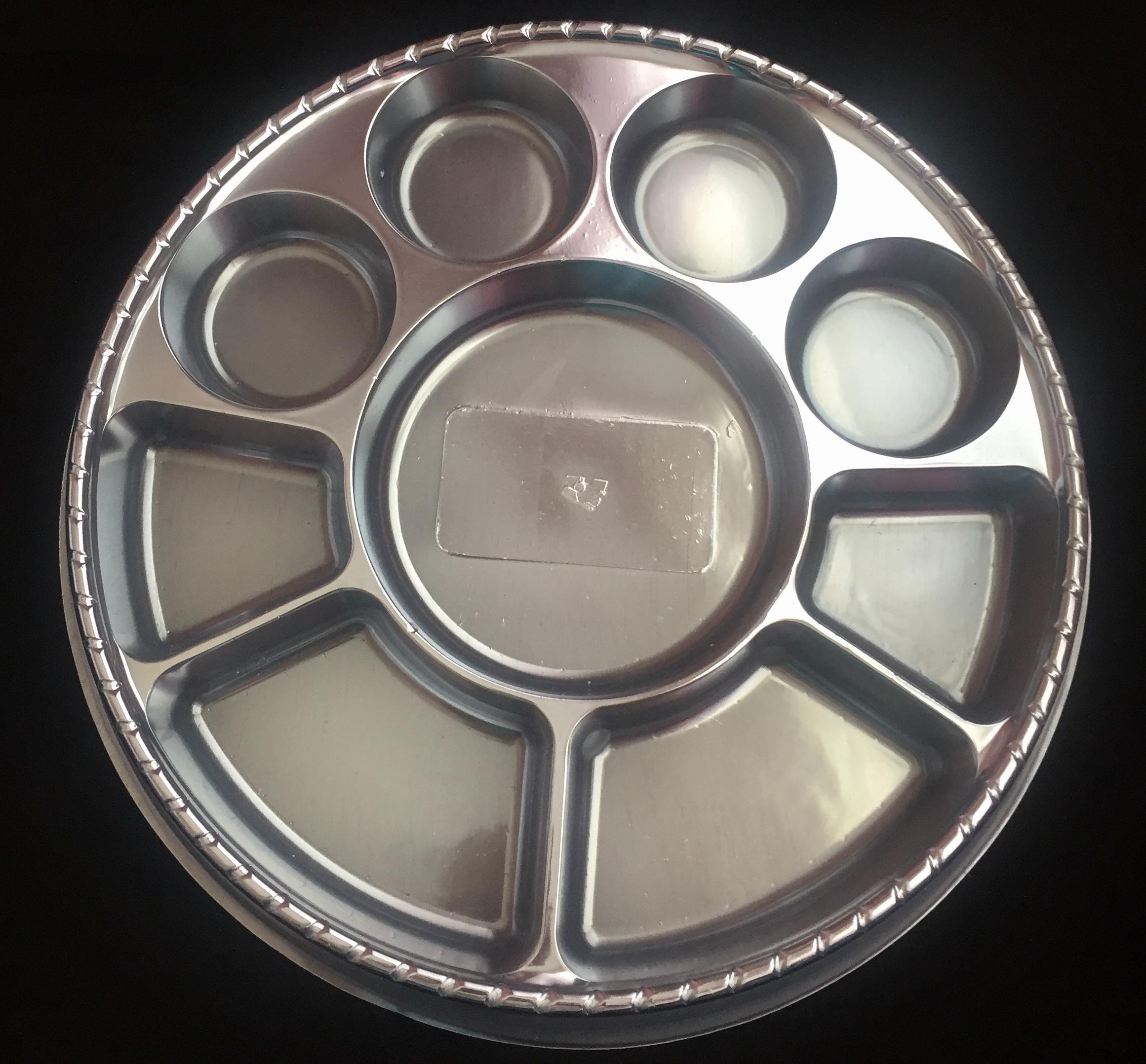 Silver Color 9 Compartment Plates