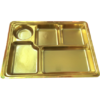Gold 5 compartment disposable plastic thali