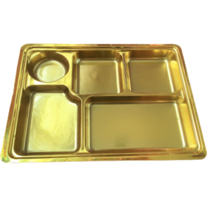Gold 5 compartment disposable plastic thali
