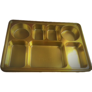 Gold 7 compartment disposable plastic thali