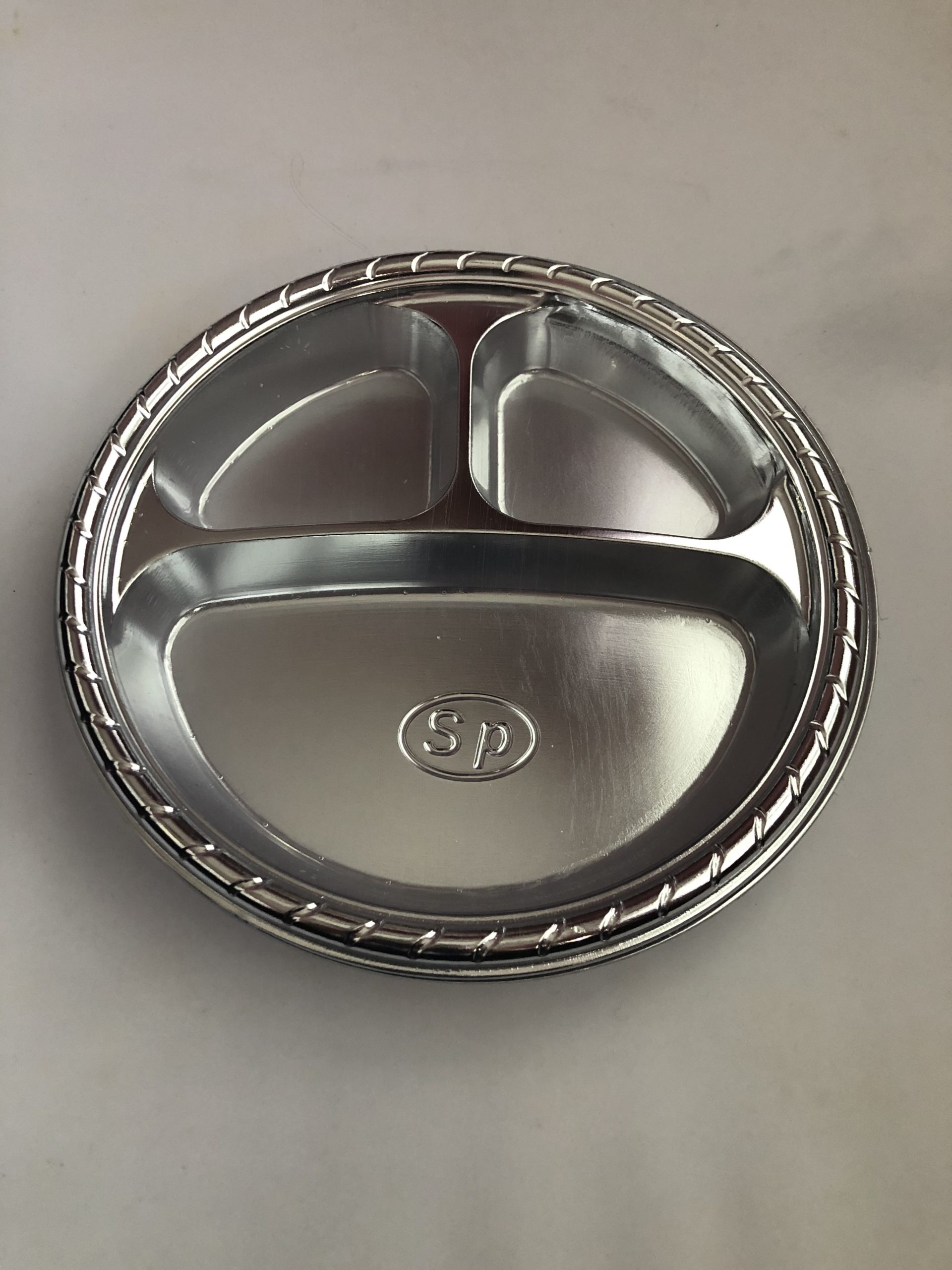 3 Section Silver Appetizer Plates with Cup Holder