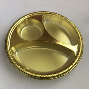 3 Section Gold Appetizer Plates with Cup Holder