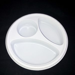 White 3 Section Appetizer Plate with Cup Holder